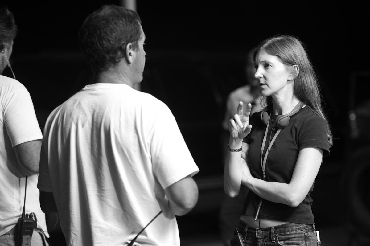 Director Claudia Myers on the set of Fort Bliss