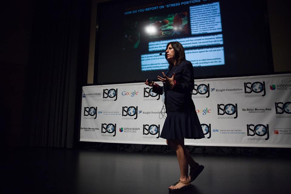Nonny de la Peña, fellow at USC School of Cinematic Arts and founder of immersive journalism VR company Emblematic Group, speaks at the 2015 ISOJ on the University of Texas-Austin campus, Apr. 18, 2015. Mengwen Cao/Knight Center