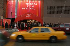 Taxi passes the Tribeca Film Festival