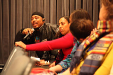 Audience members participate in discussion at Interrupters screening