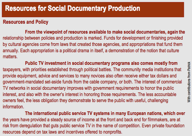 Resources for Social Documentary Production