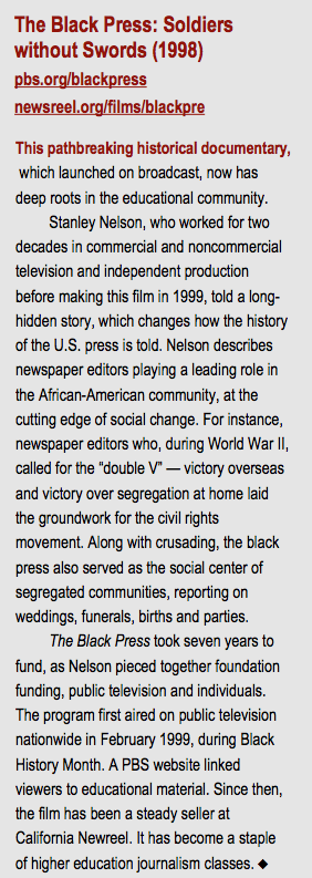 The Black Press: Soldiers without Swords (1998)