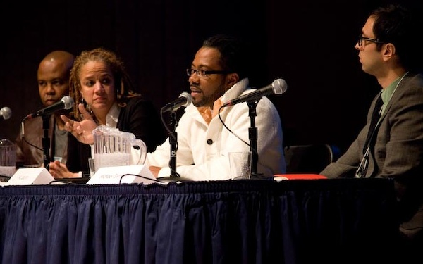 Left to right: Glynn Washington, Jacquie Jones, Al Letson, Michael Garofalo, Photo by Maria R.M. Howell